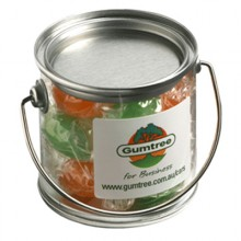 SMALL PVC BUCKET FILLED WITH TWIST WRAPPED BOILED LOLLIES 120G