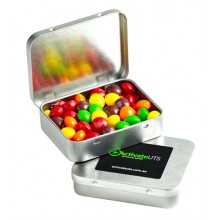 RECTANGLE HINGE TIN FILLLED WITH SKITTLES 65G