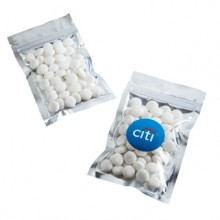 SILVER ZIP LOCK BAG WITH MINTS 50G