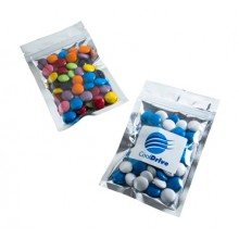 SILVER ZIP LOCK BAG WITH CHOC BEANS 50G