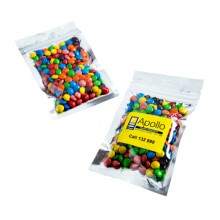 SILVER ZIP LOCK BAG WITH M&Ms 50G