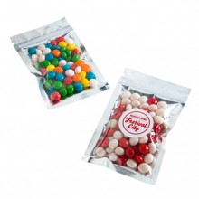 SILVER ZIP LOCK BAG WITH CHEWY FRUITS 50G