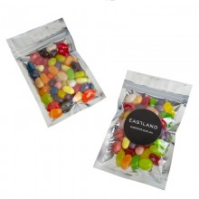 Silver Zip Lock Bag with JELLY BELLY Jelly Beans 50g