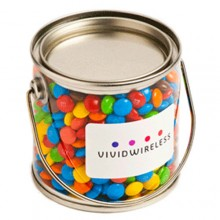 Small PVC Bucket Filled with Mini M&Ms