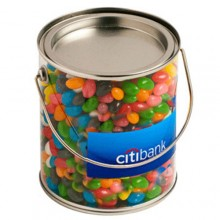BIG PVC BUCKET FILLED WITH JELLY BEANS 900G (Corp Coloured or Mixed Coloured Jelly Beans)