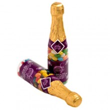 CHAMPAGNE BOTTLE FILLED WITH JELLY BEANS 220G X 1 STICKER (Mixed Colours or Corporate Colours)