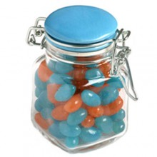 JELLY BEANS IN GLASS CLIP LOCK JAR 80G (Mixed Colours or Corporate Colours)