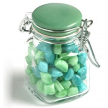 CORPORATE COLOURED HUMBUGS IN GLASS CLIP LOCK JAR 80G