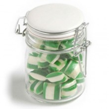 CORPORATE COLOURED HUMBUGS IN GLASS CLIP LOCK JAR 160G