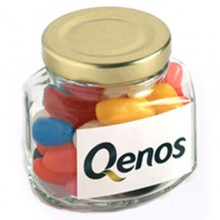 JELLY BEANS IN GLASS SQUEXAGONAL JAR 90G (Mixed Colours or Corporate Colours)