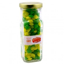 CORPORATE COLOURED HUMBUGS IN GLASS TALL JAR 180G