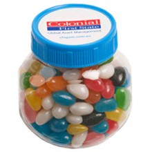 PLASTIC JAR FILLED WITH JELLY BEANS 170G (Corp Coloured or Mixed Coloured Jelly Beans)