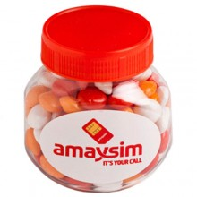 PLASTIC JAR FILLED WITH CHEWY FRUITS (SKITTLE LOOK ALIKE) 170G