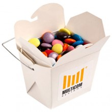 WHITE CARDBOARD NOODLE BOX FILLED WITH CHOC BEANS SMARTIE LOOK ALIKE 100G