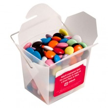 FROSTED PP NOODLE BOX FILLED WITH CHOC BEANS (SMARTIE LOOK ALIKE) 100G
