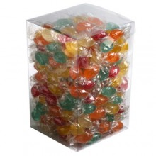 BIG PVC BOX FILLED WITH TWIST WRAPPED BOILED LOLLIES 2KG