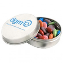 CANDLE TIN FILLED WITH CHOC BEANS 50G (Mixed Colours)