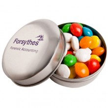 CANDLE TIN FILLED WITH CHEWY FRUITS (SKITTLE LOOK ALIKE) 50G