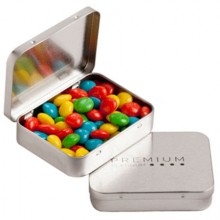 RECTANGLE HINGE TIN FILLED WITH CHEWY FRUITS (SKITTLE LOOK ALIKE) 65G