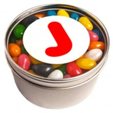 SMALL ROUND ACRYLIC WINDOW TIN FILLLED WITH JELLY BEANS (Mixed Colours or Corporate Colours)