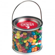 MEDIUM PVC BUCKET FILLED WITH JELLY BEANS 400G (Corp Coloured or Mixed Coloured Jelly Beans)