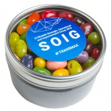 Small Round Acrylic Window Tin filled with JELLY BELLY Jelly Beans