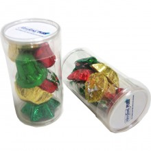 PET Tube filled with CHRISTMAS Chocolates 55g